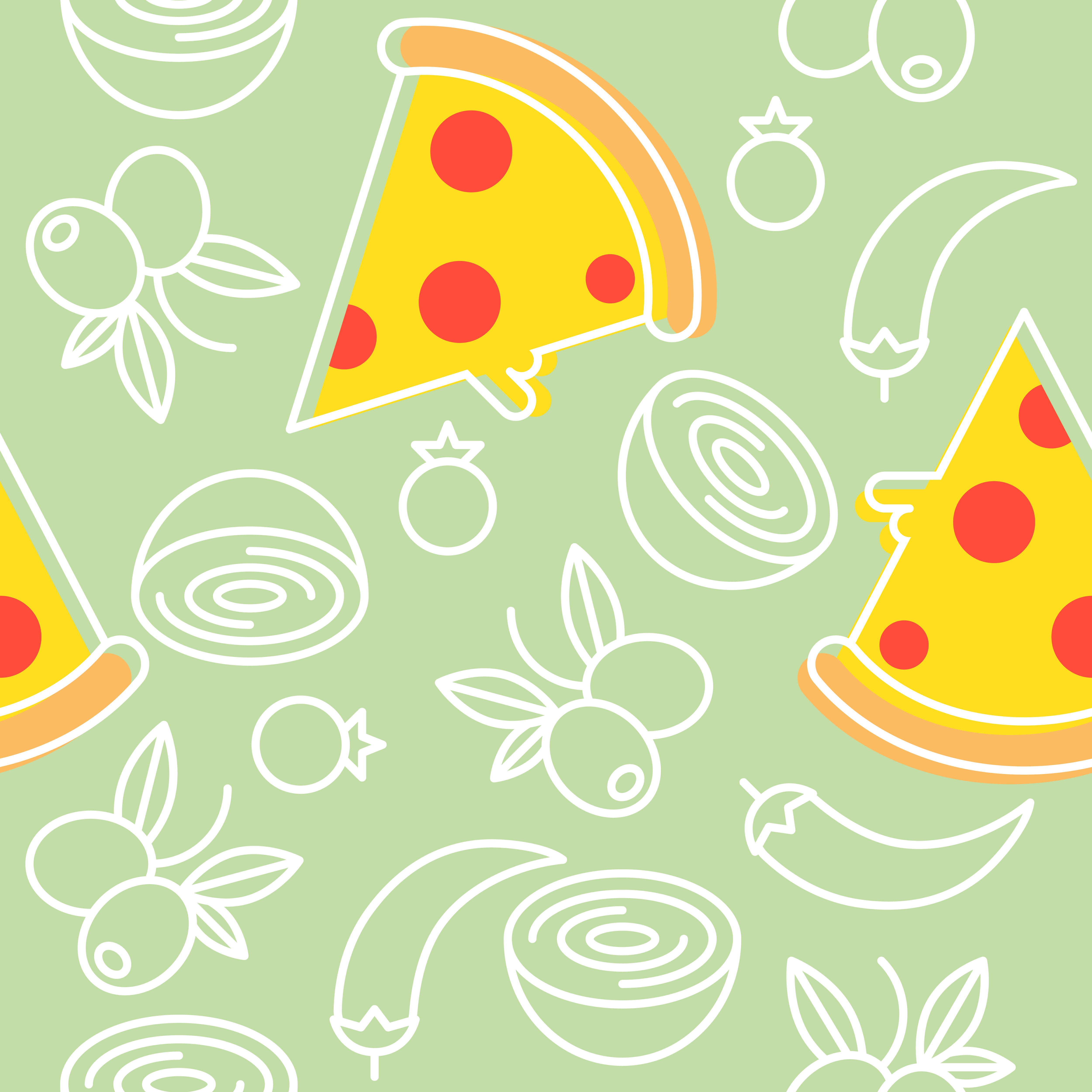 pizza and ingredients seamless pattern outline for wallpaper and 5000x5000