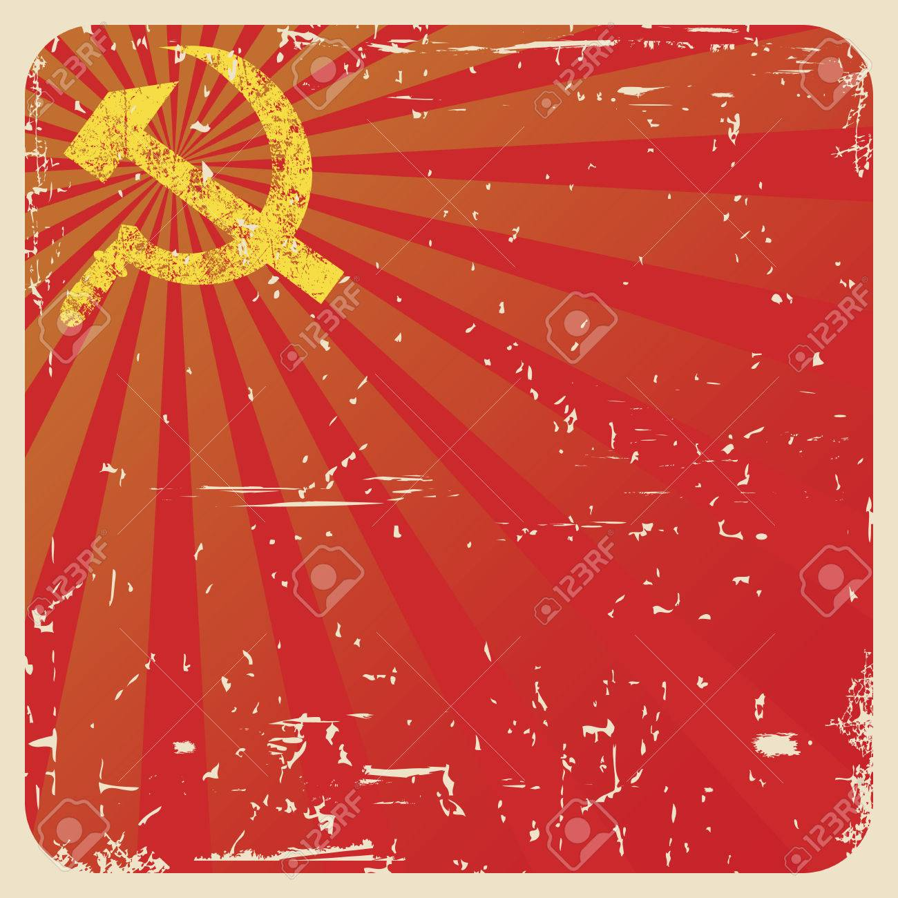 Grunge Soviet Background With Hammer And Sickle Vector 1300x1300