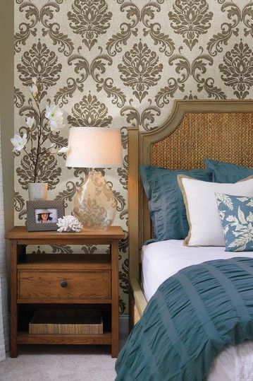 Sebastion Gold Damask Wallpaper by Ultra Removable Eco Wallpaper on 359x539