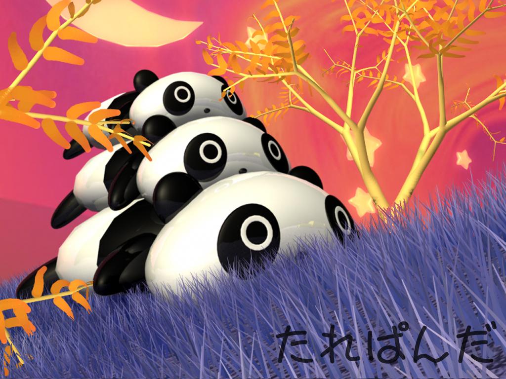 Cute Panda Cartoon Wallpaper Funny tare panda wallpaper 1024x768