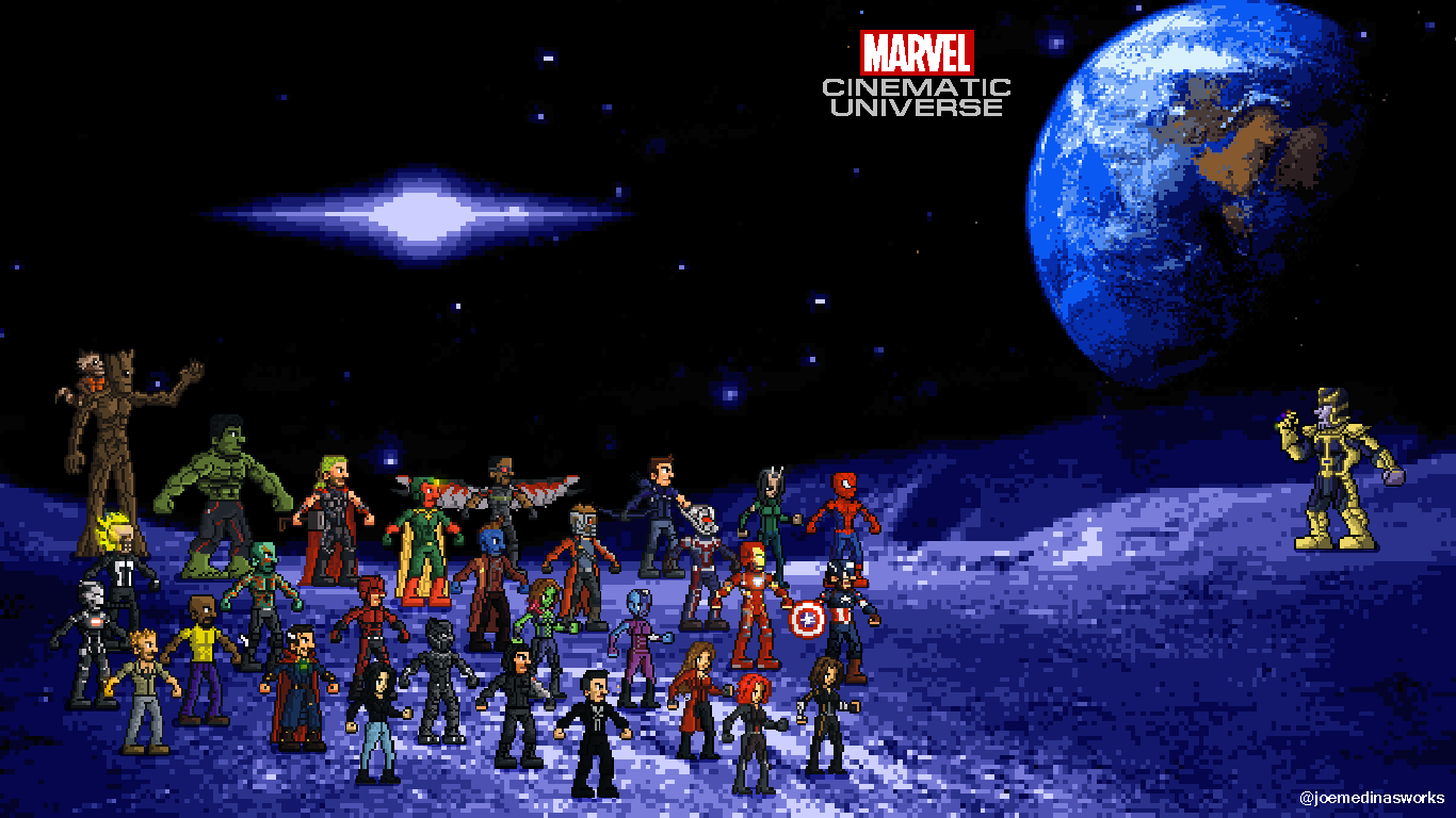Marvel Cinematic Universe [Pixel Art] Wallpaper 1366x768