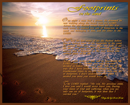 footprints in the sand for wallpaper 500x403