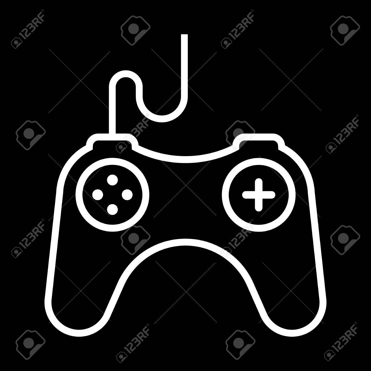 Video Games Controller Line Art Vector Icon Isolated On A Black 1300x1300