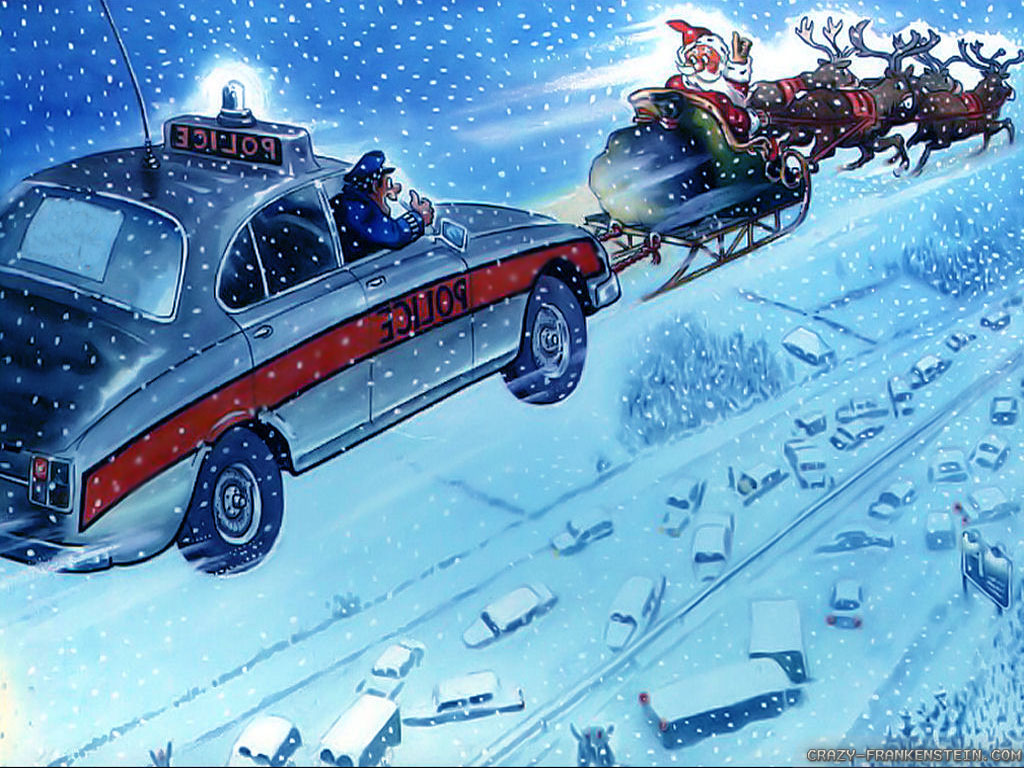 Wallpaper Police Funny Christmas wallpapers 1024x768