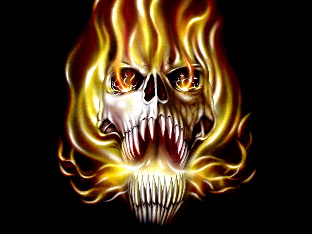 SEENWALL Fire Skull Wallpapers Gallery 1024x768