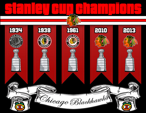 Chicago Blackhawks 5 time Stanley Cup Champions Flickr   Photo 500x389
