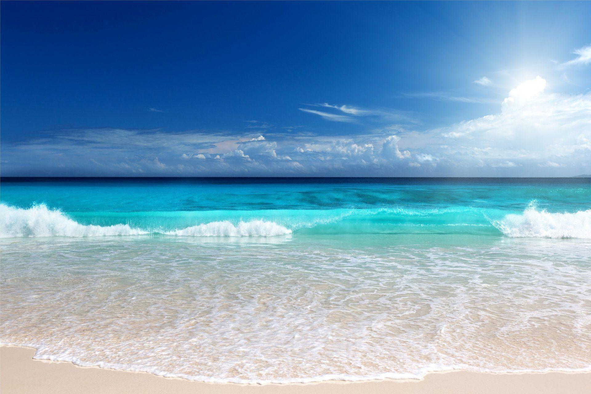 sea blue ocean beach emerald sunshine sun sand HD wallpaper for 1920x1280