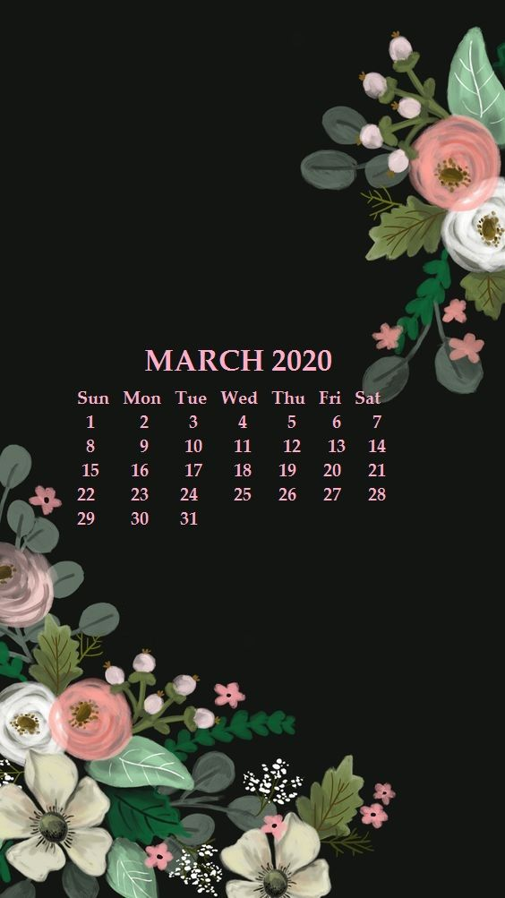 iPhone March 2020 Calendar Wallpaper in 2019 Calendar wallpaper 564x1003