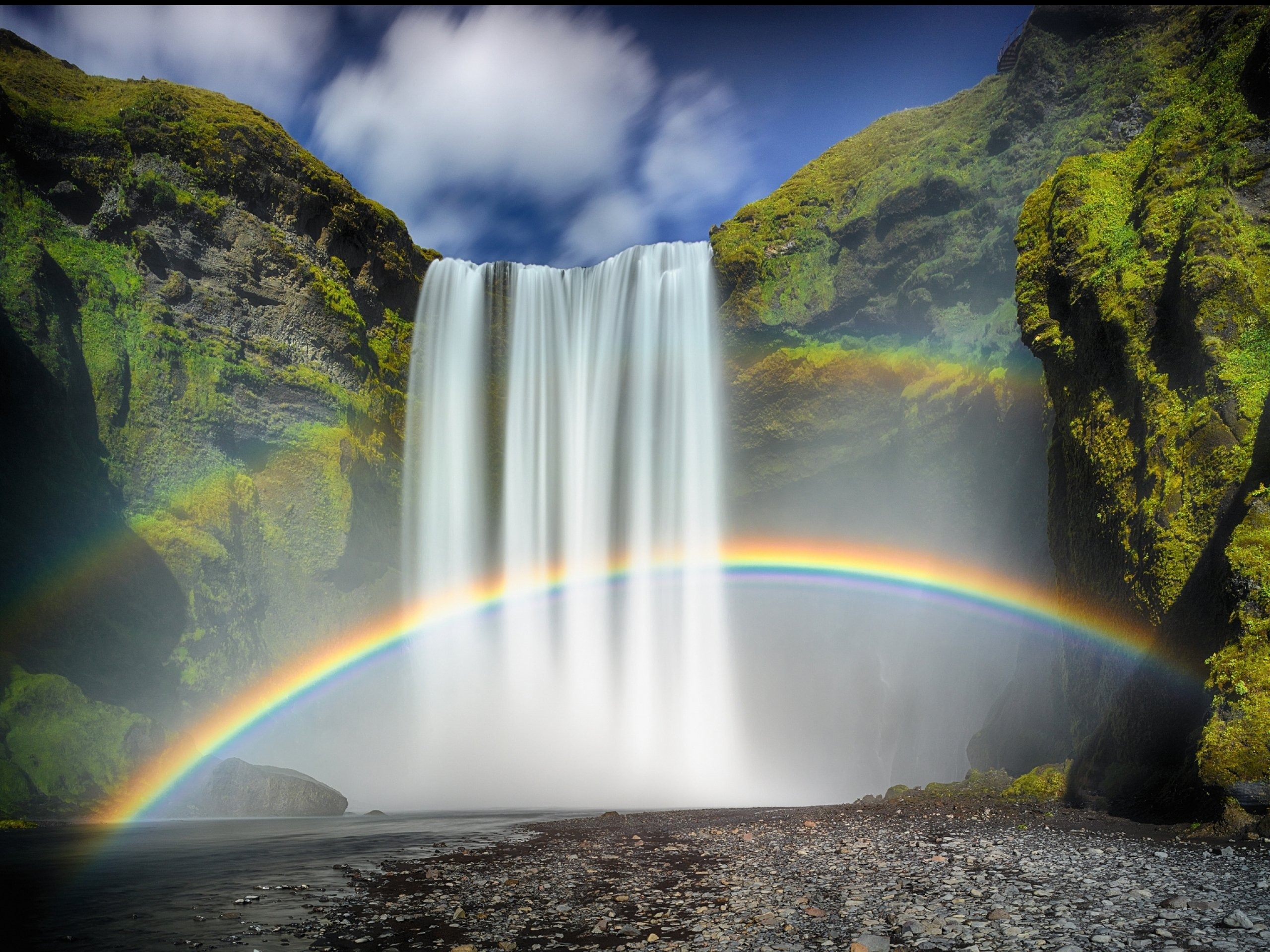Desktop Wallpapers Waterfalls with Rainbow - WallpaperSafari