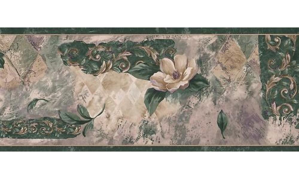 Home Dark Green Magnolia Wallpaper Border 1000x600