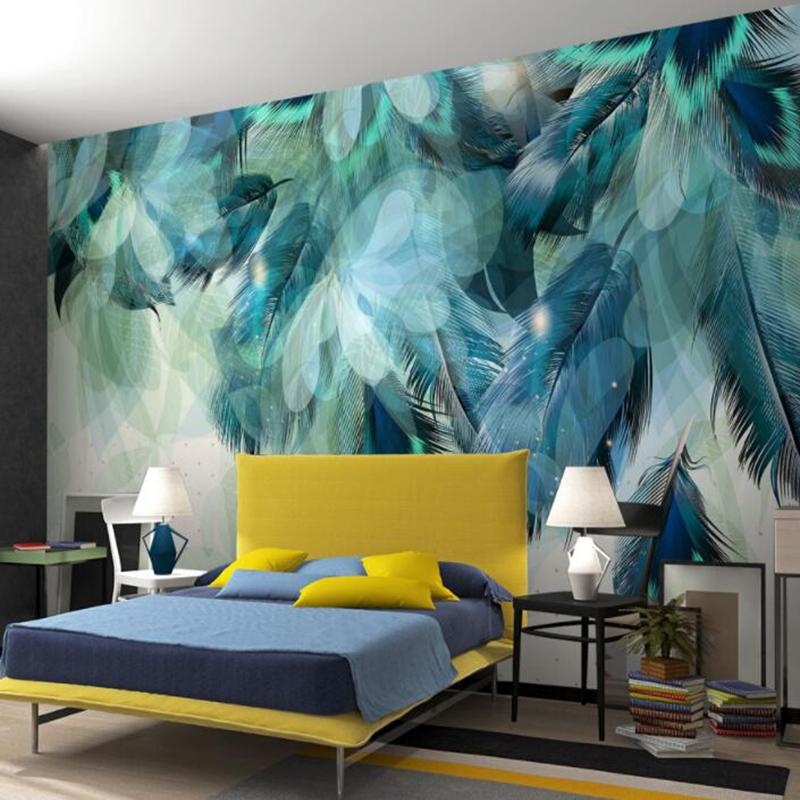Custom Any Size 3D Nordic Minimalism Blue Feather Mural Modern 800x800
