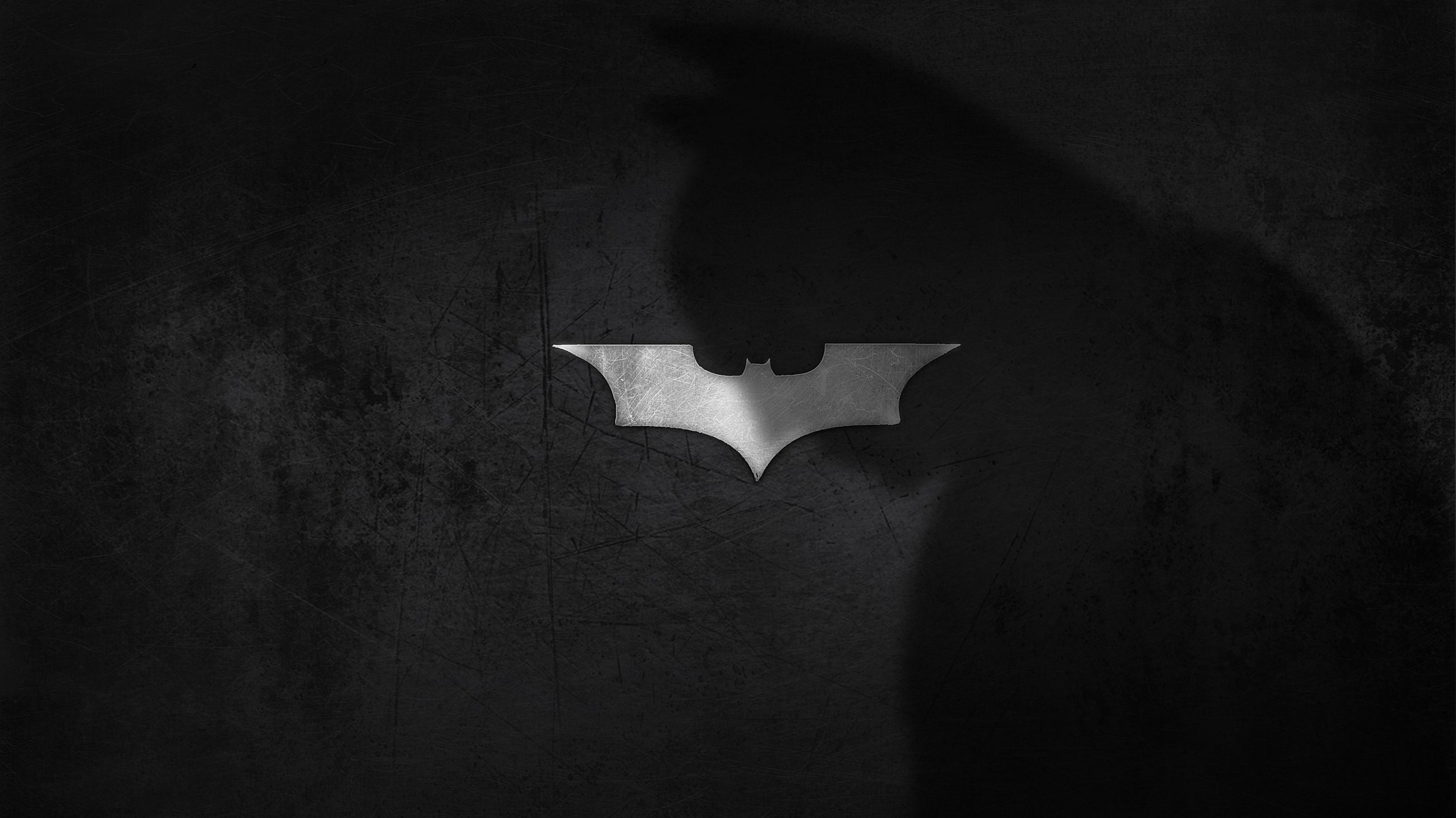 Download Wallpaper 3840x2160 shadow logo batman dark knight 4K 3840x2160