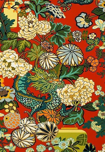 Schumacher Chiang Mai Dragon Lacquer Wallpaper 397x575