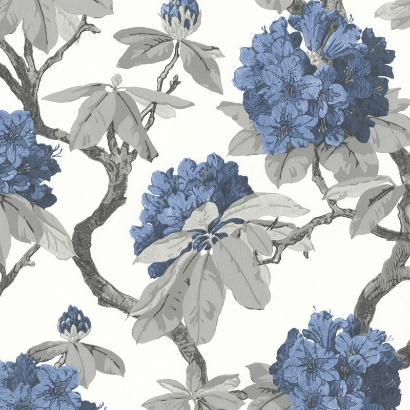 Long Island Hydrangea Wallpaper in Blue and White with a Textured 800x800