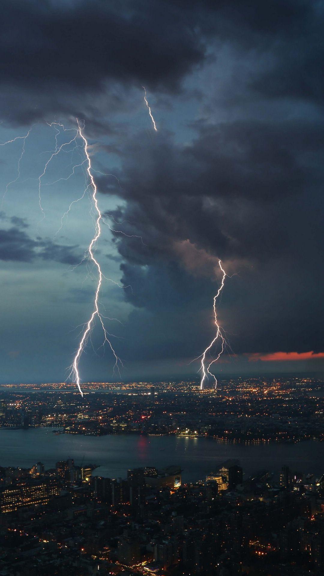 1080x1920 Wallpaper thunderstorm city sky overcast Aesthetic 1080x1920