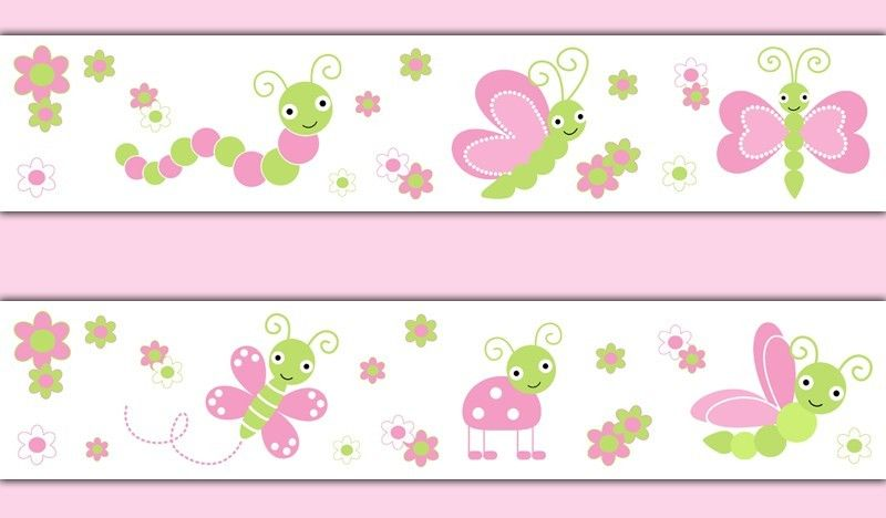 Butterfly Ladybug Dragonfly Wallpaper Border Wall Decals Baby Girl 800x468