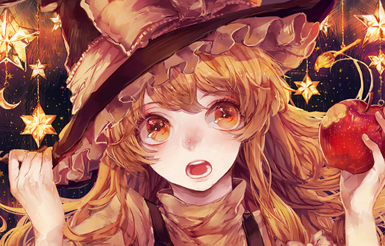Wallpaper apple touhou stars witch marisa images for desktop 1332x850
