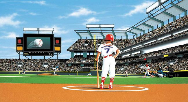 Baseball Stadium Wall Murals Batter up baseball stadium 650x354