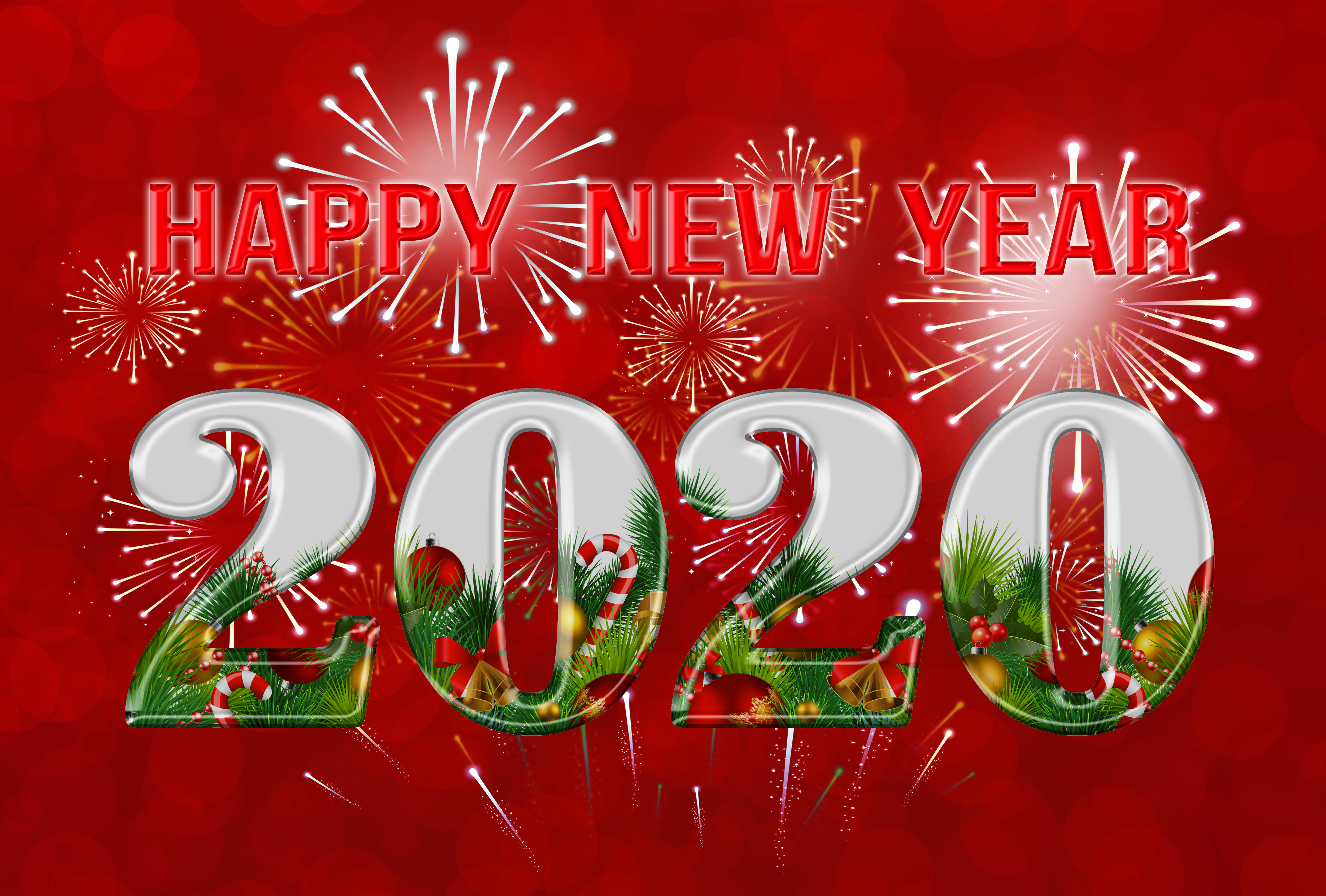 Happy New Year 2020 Red Background Gallery Yopriceville   High 5000x3381