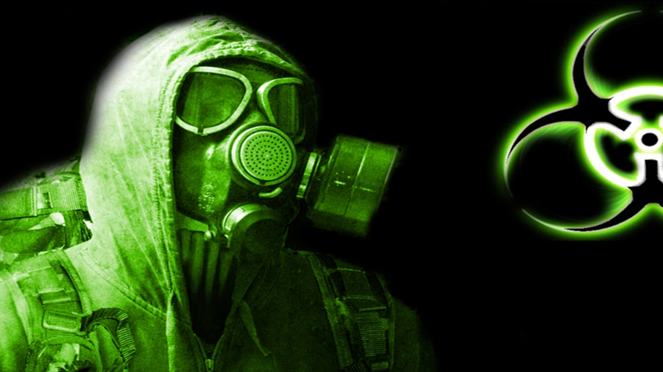 biohazard gas mask wallpaper from top windows 7 themes 1366x768