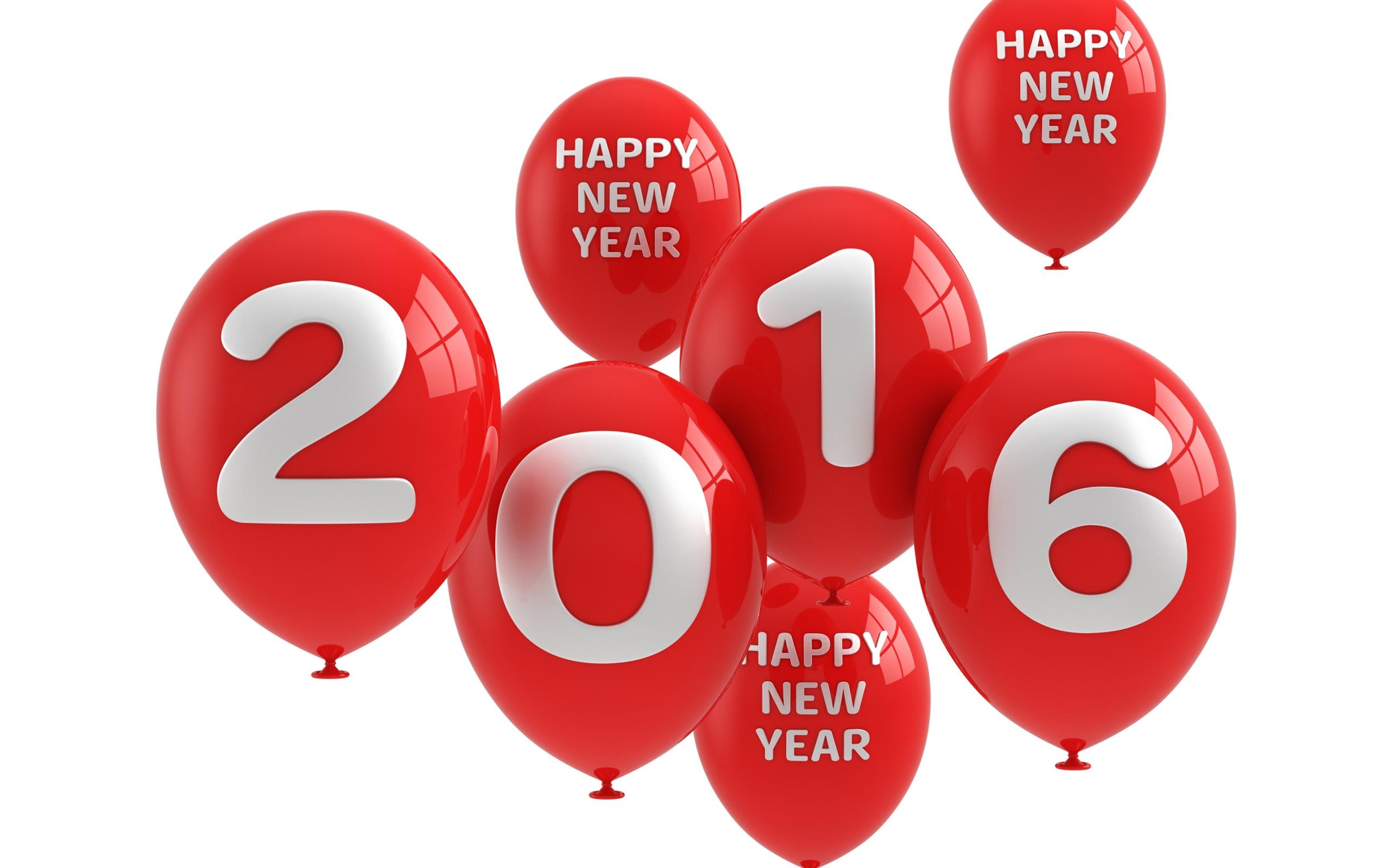 Happy New Year 2016 Balloons Red Greeting HD Wallpaper 2560x1600