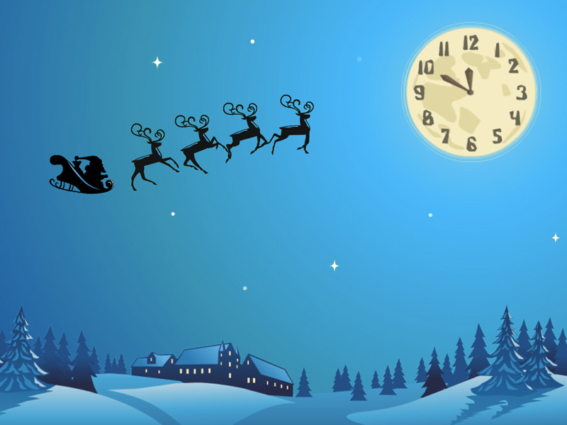 Santas flying really high in the magic Christmas sky Perfect gifts 800x600
