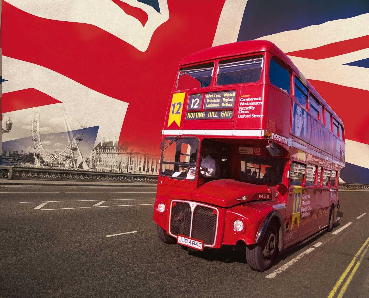 GIANT WALLPAPER WALL MURAL LONDON BUS UNION JACK THEME DESIGN 1417x1144