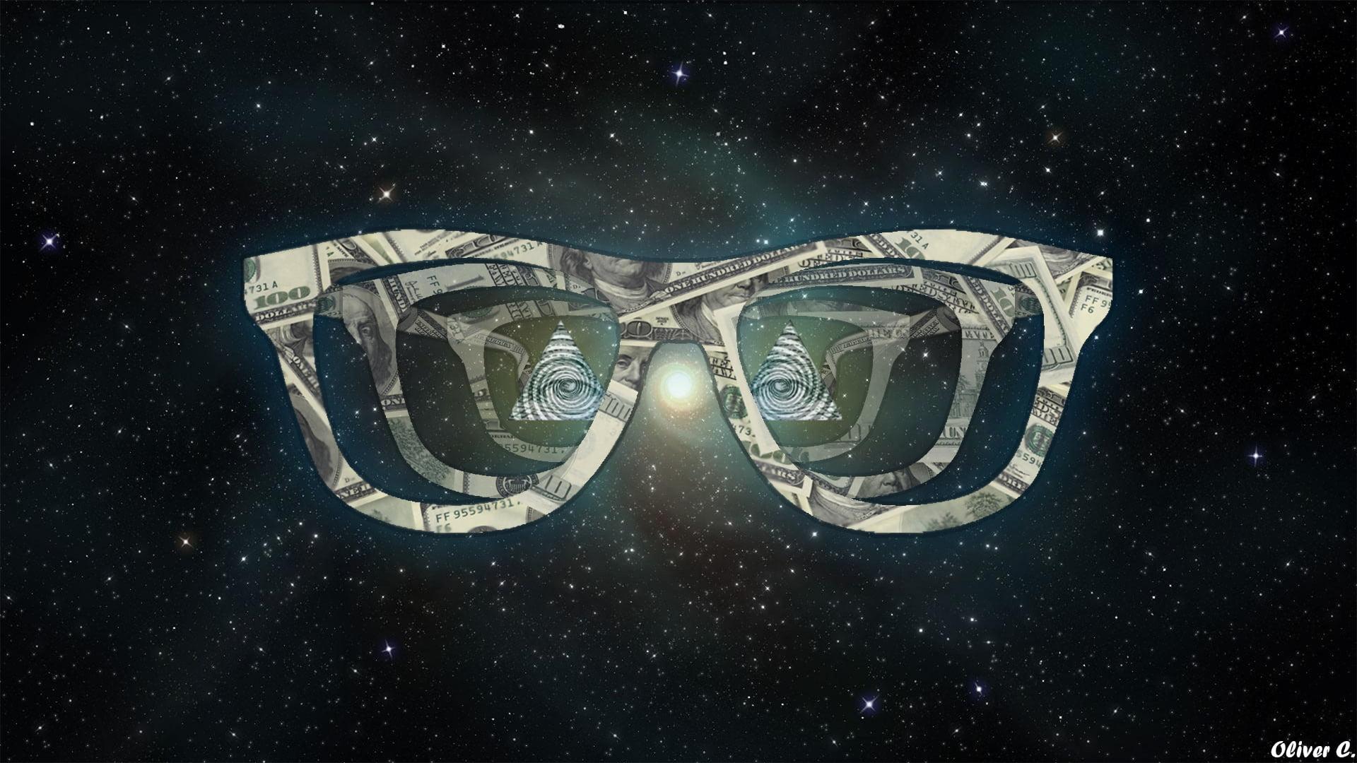 Illustration of eyeglasses and eye of providence nebula digital 1920x1080
