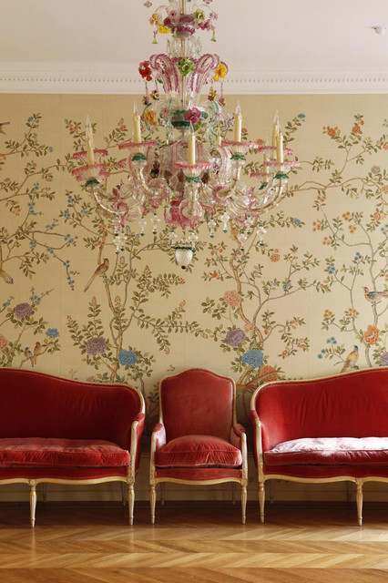Chinoiserie Hand Painted Wallpaper traditional 426x640
