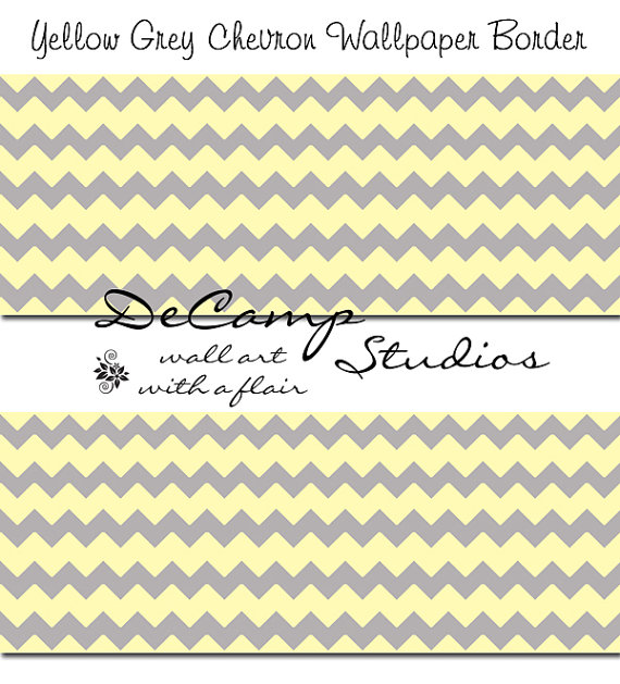YELLOW GREY GRAY Chevron Wallpaper Border Wall Decal Baby Girl Boy 570x629