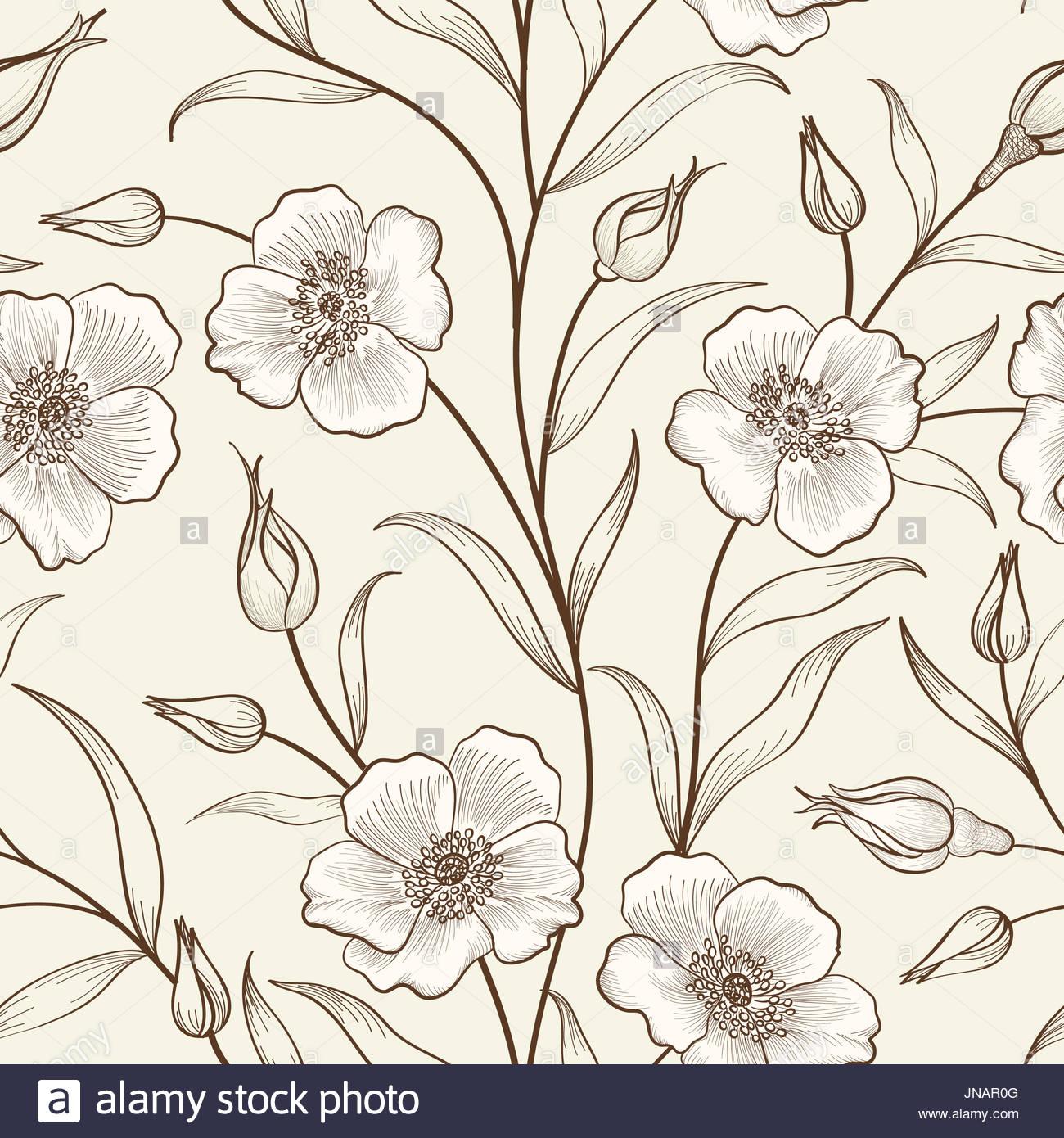 Floral seamless outline sketch pattern Flower background Floral 1300x1390