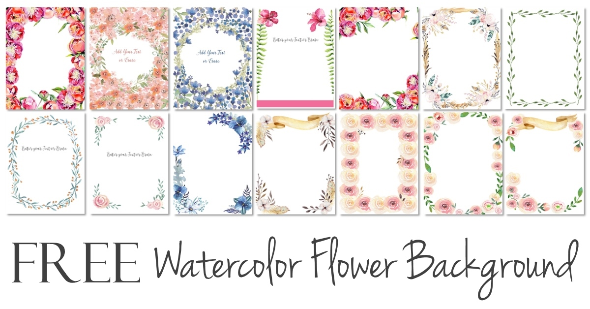Watercolor Flower Border Customize Online Many Designs 1200x628