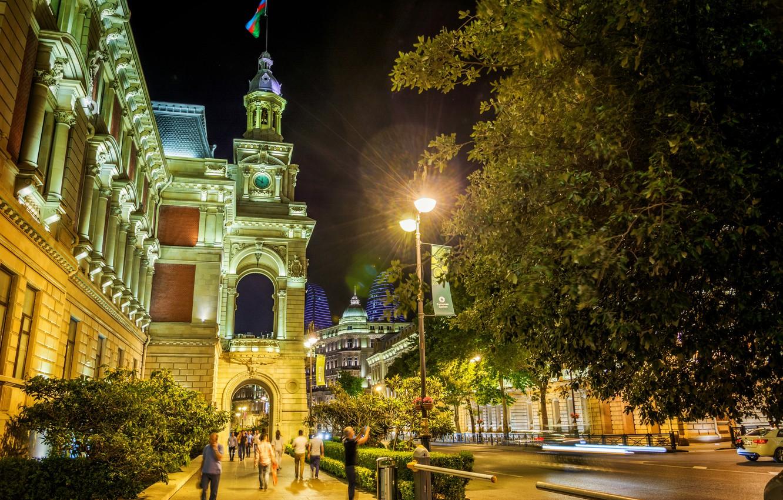Wallpaper night night Azerbaijan Azerbaijan Baku Baku images 1332x850
