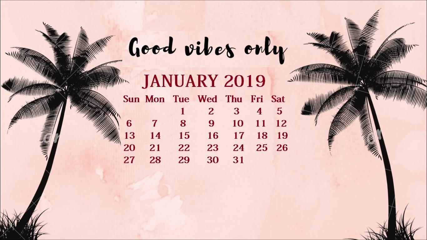 January 2019 Screensaver Backgrounds Max Calendars 1366x768