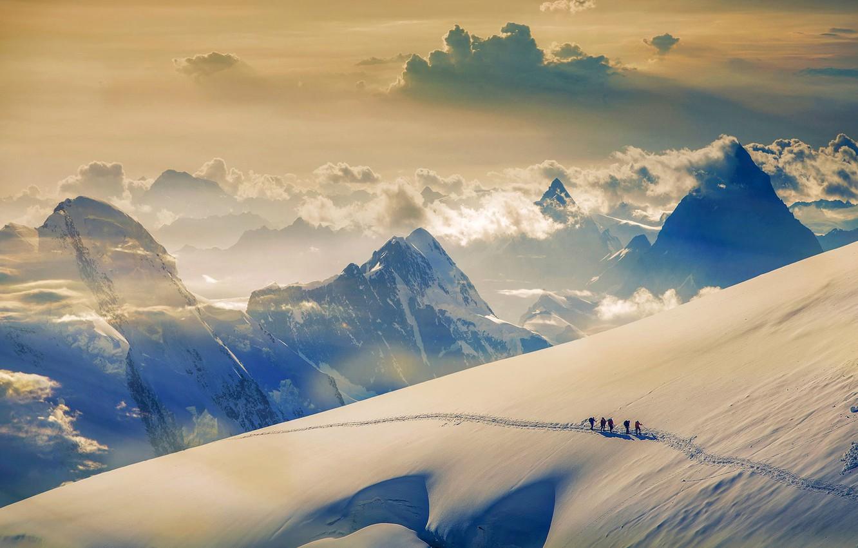 Wallpaper snow mountain Switzerland climbers Jungfrau The 1332x850