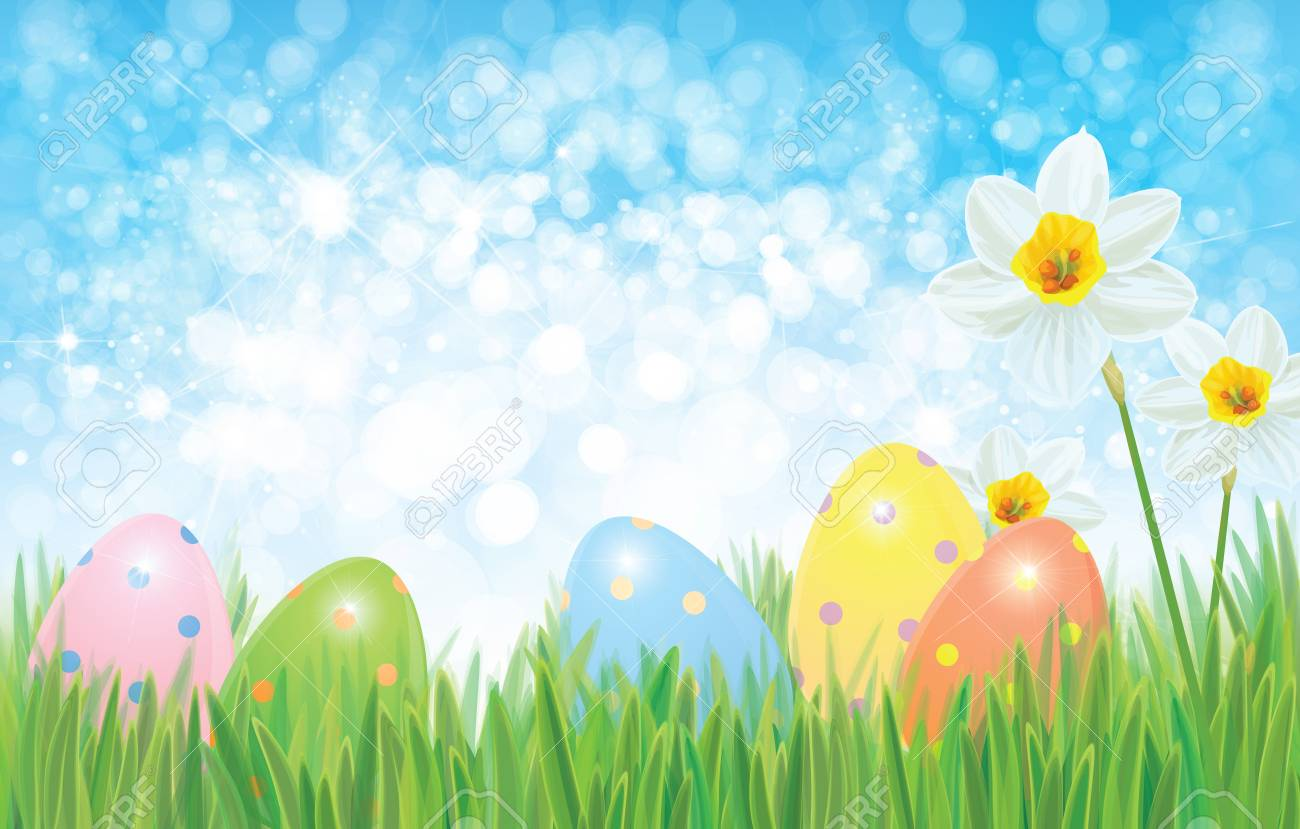 Easter Eggs In Grass And Daffodils Easter Vector Background 1300x829
