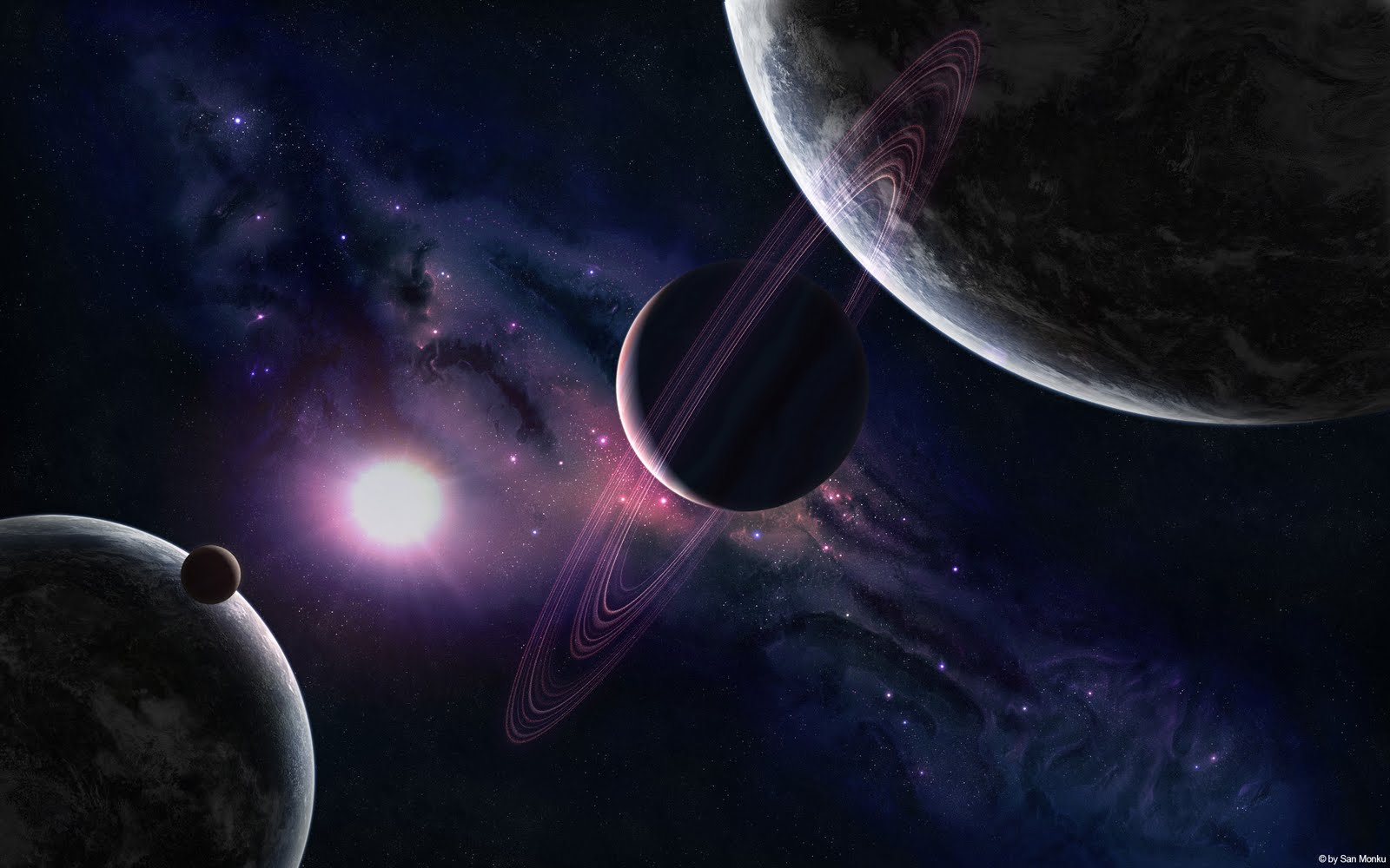 Cool Wallpapers 3d planets background 1600x1000