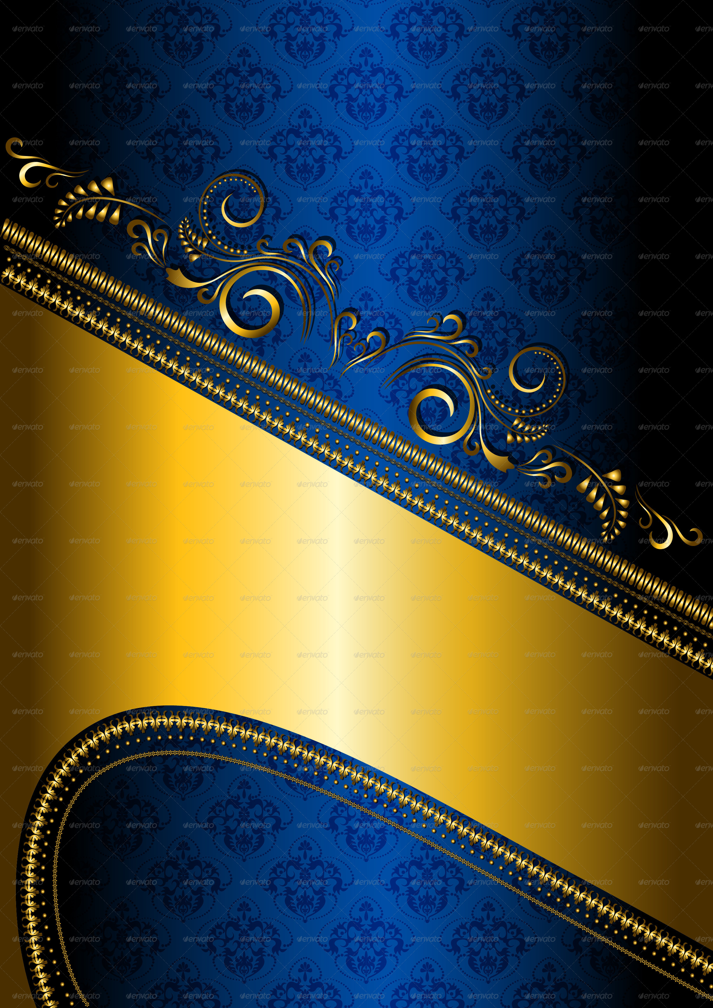 Gold Border on Blue Patterned Background   GraphicRiver Previewer 2480x3508