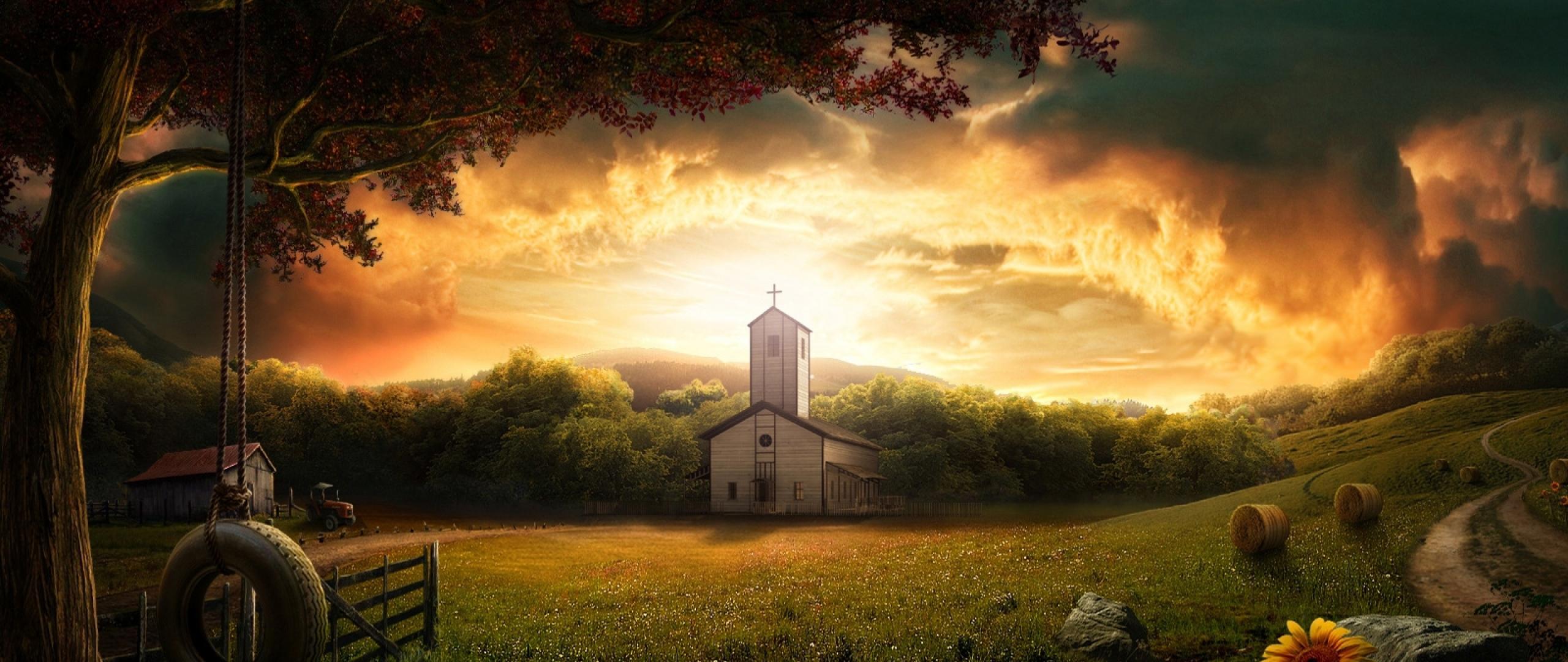 2560x1080 Wallpaper 3d photoshop nature landscape 2560x1080