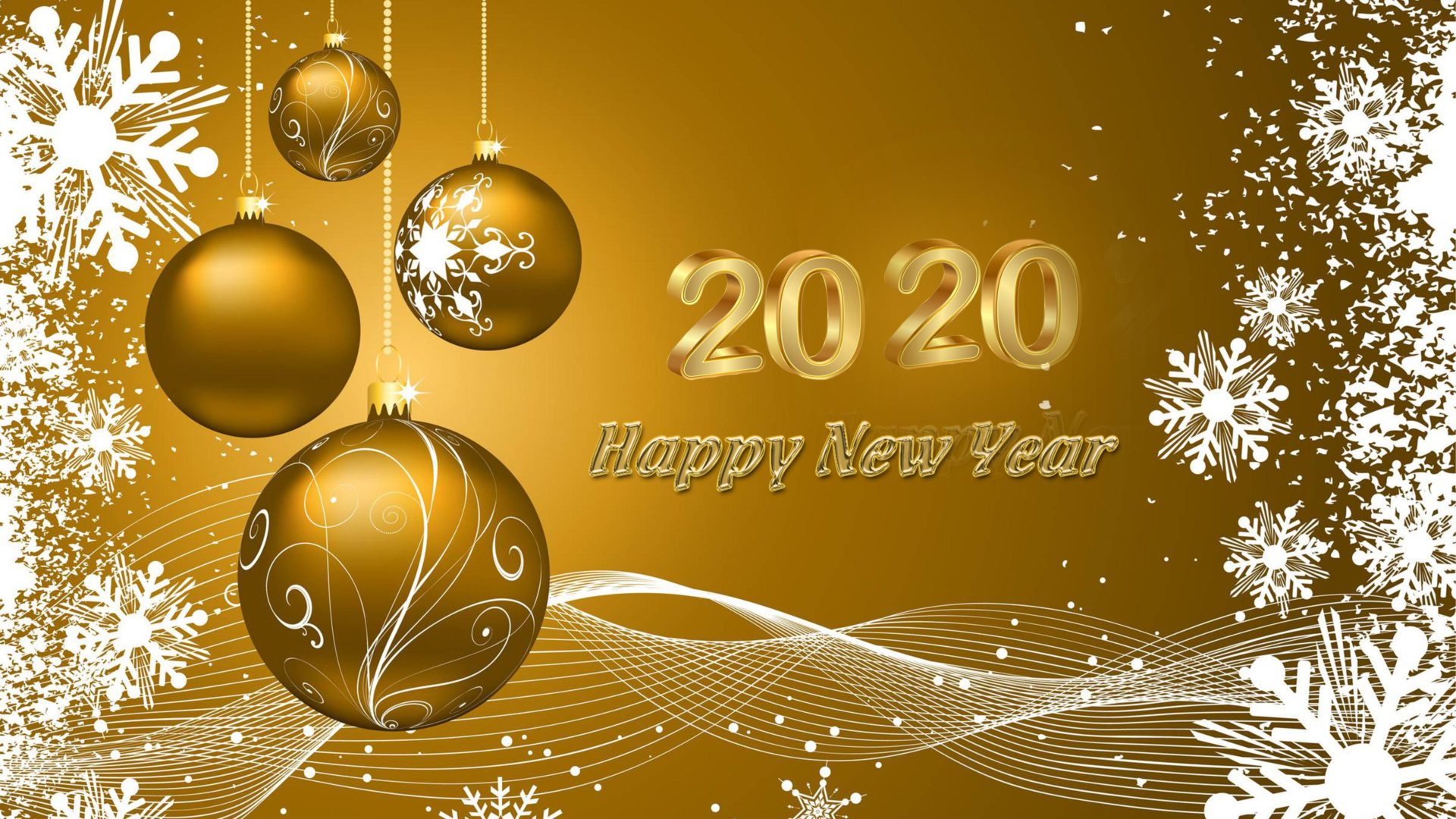 Happy New 2020 Year Wishes Gold Greeting Card Quotes 4k Ultrahd 1920x1080