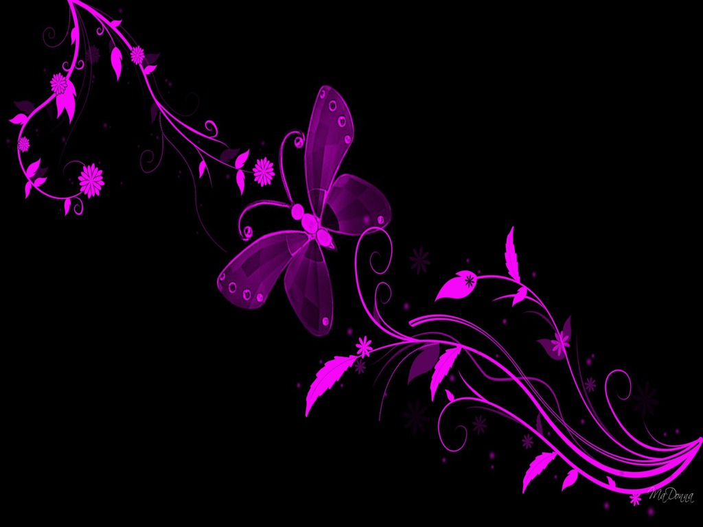 Black And Pink Butterfly Flowers Wallpaper Tnw 1024x768 pixel 1024x768