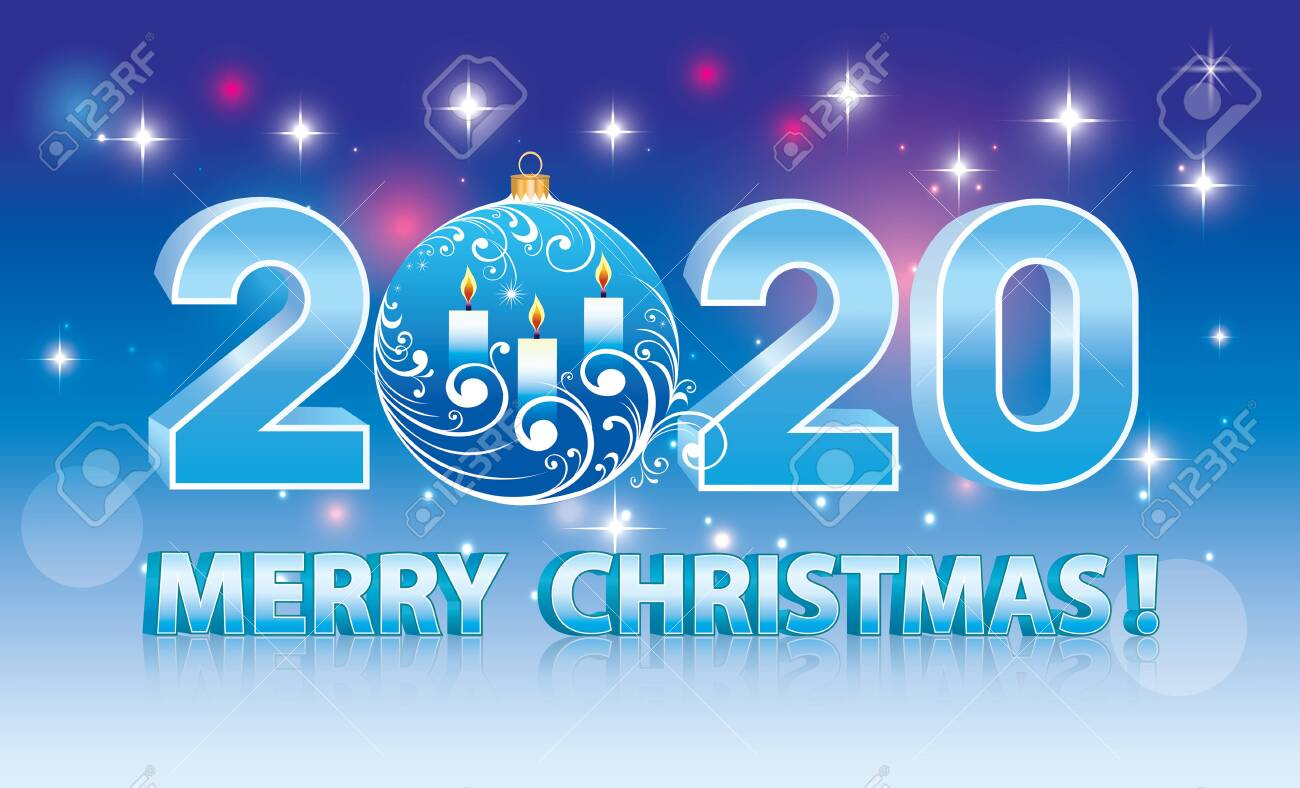 Merry Christmas 2020 Banner Blue Sparkling Background With Stars 1300x788