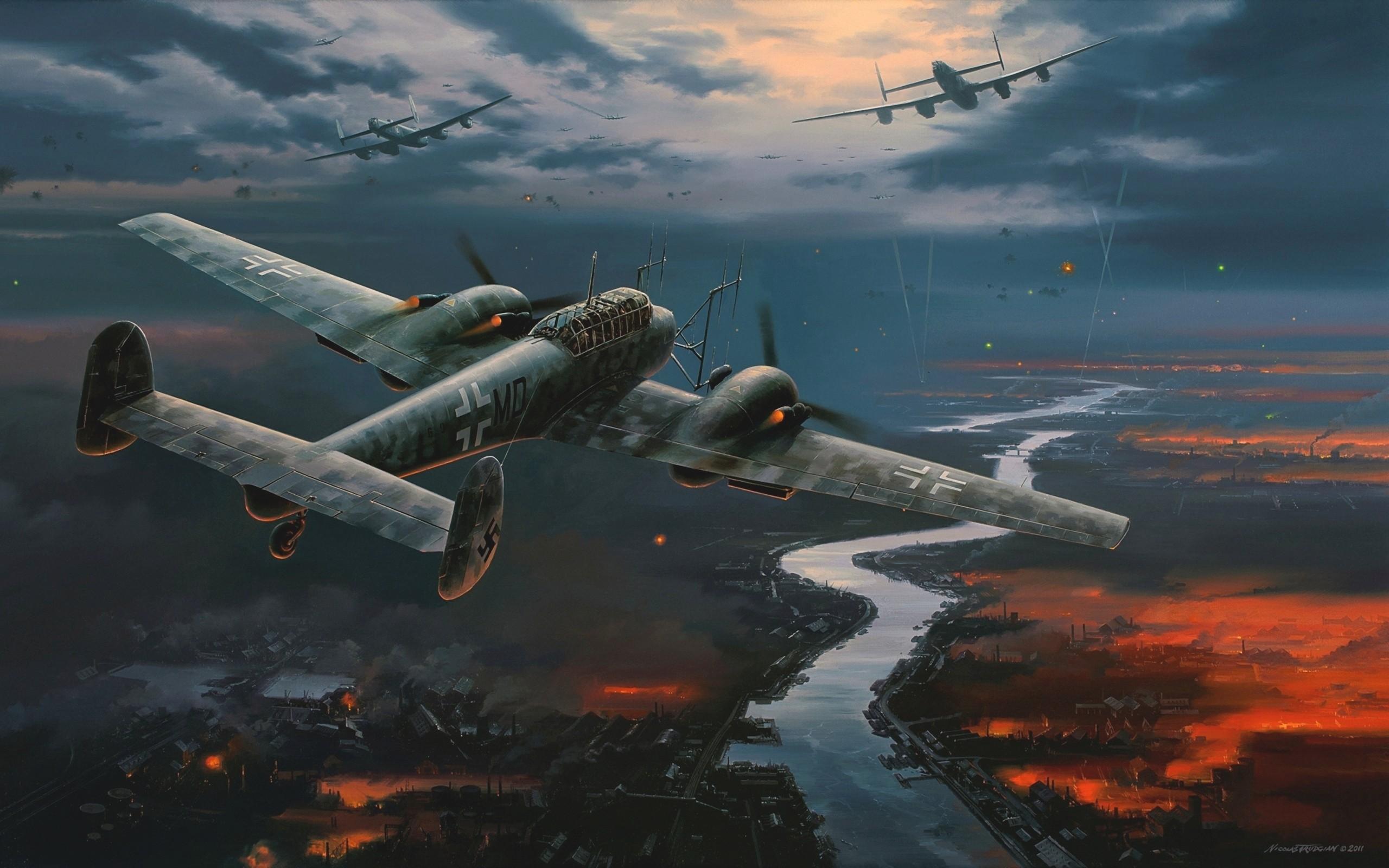 flames paintings aircraft Bomber World War II Luftwaffe 2560x1600