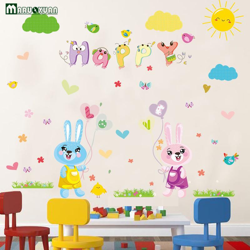 YunXi Cartoon LOVE Couple Bunny Rabbit Balloon Sticker Bedroom 800x800