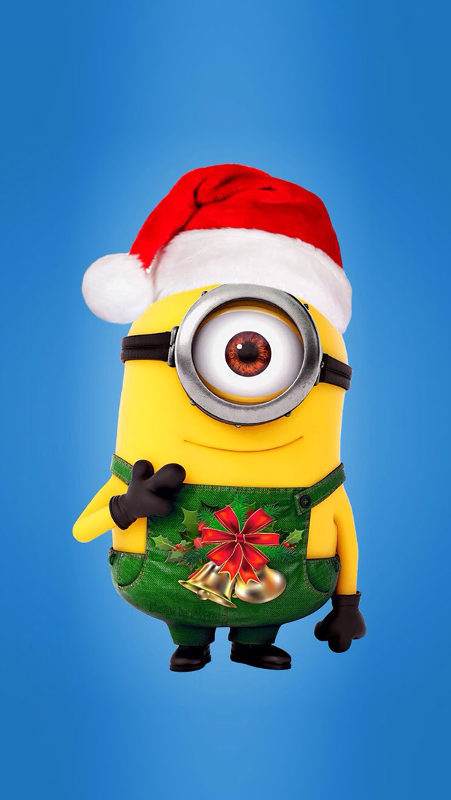 minions christmas 01 wallpaper iphone wallpapers 640x1136 - Minion Christmas Song