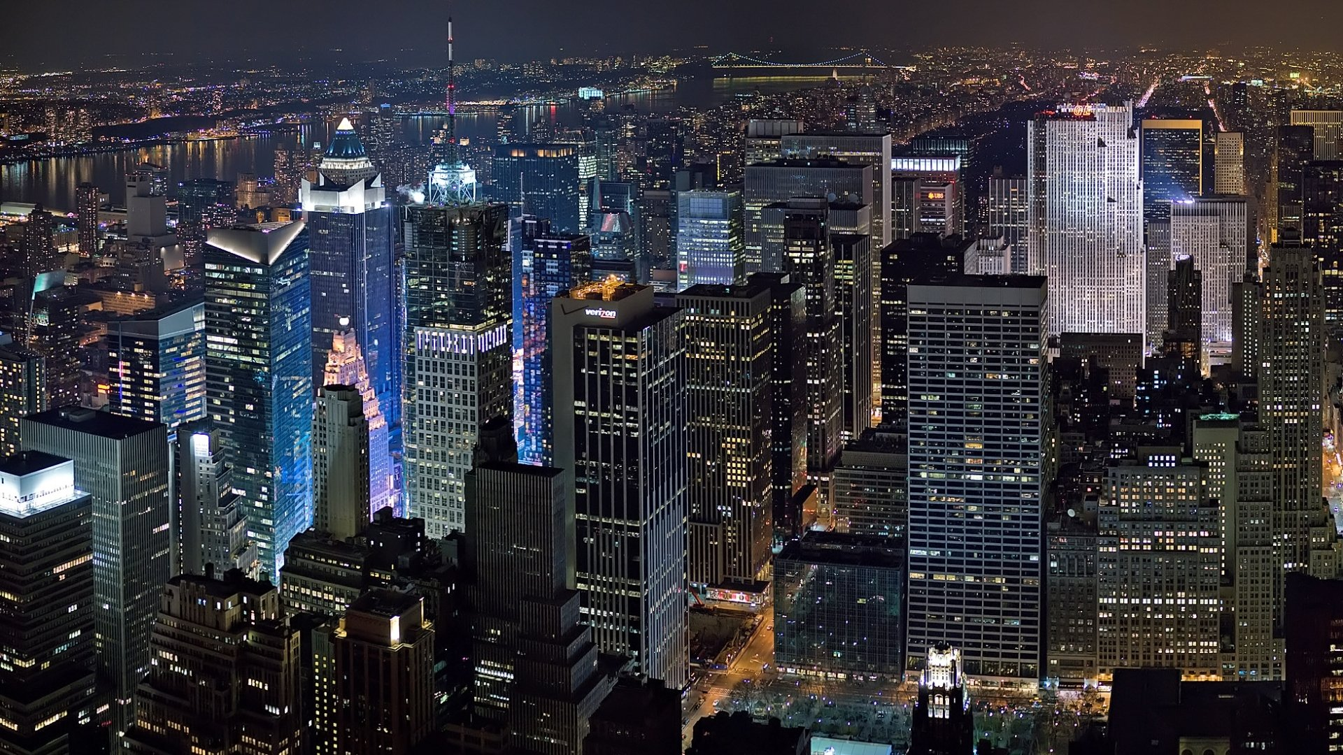 Free Download New York City At Night Wallpaper 3682 1920x1080