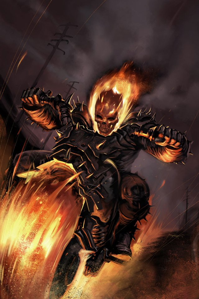 Download for iPhone cartoons wallpaper Ghost Rider I4 640x960