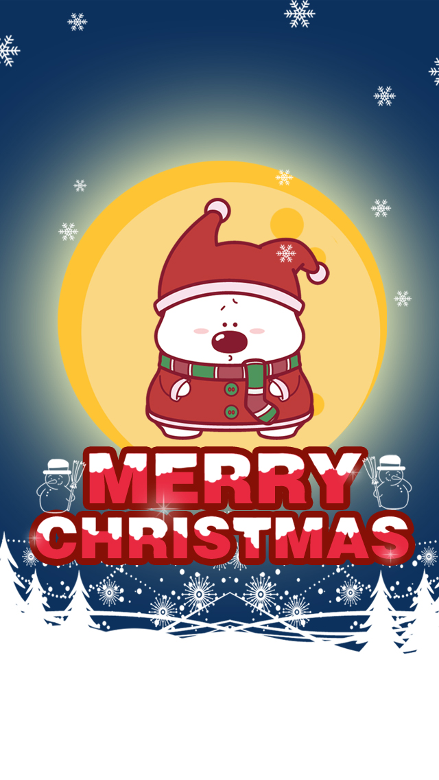 Cute Cartoon Bear Merry Christmas Wallpaper   iPhone Wallpapers 640x1136