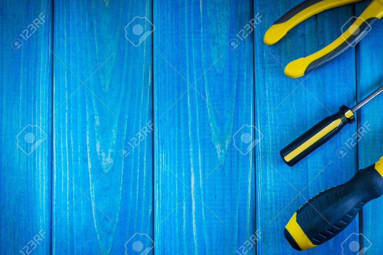 Hand Tool On Blue Wooden Background For Homework Kit For 1300x865