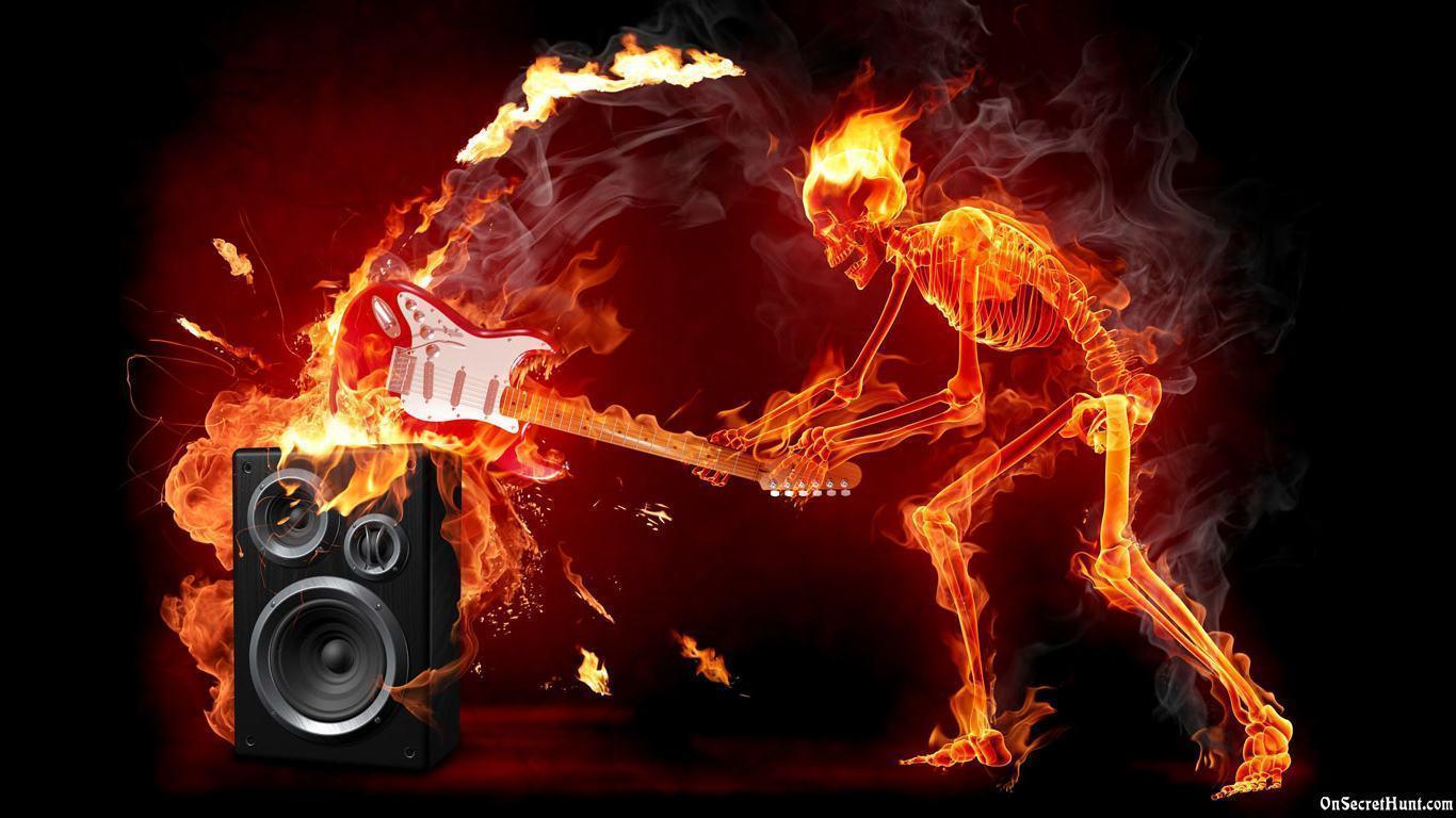 Fire Skulls Wallpapers 1366x768